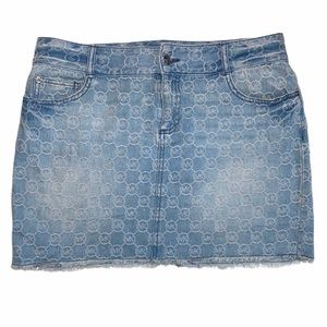 Michael Kors Denim Mini Skirt Logo Frayed Hem EUC